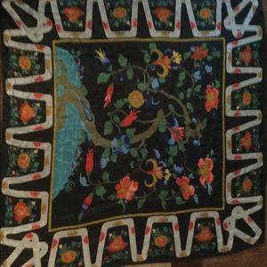 """Vintage no label square silk scarf 34"""""""